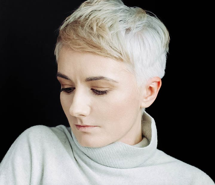 Woman With Grey Hair and Highlights